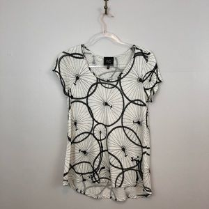 Anthropologie W5 Penny Farthing Bicycle Print Tee